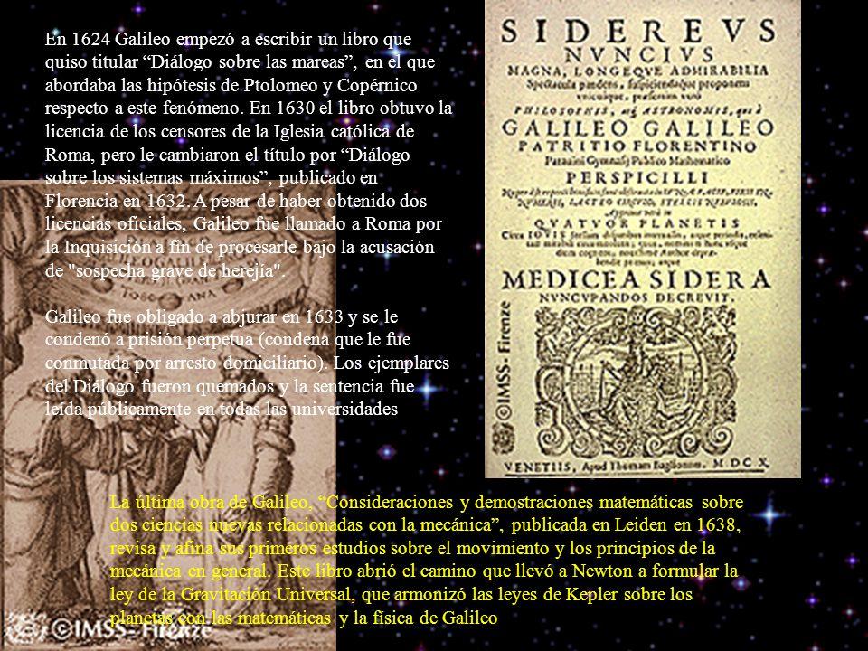 En 1624 Galileo empezó a escribir un libro que quiso titular Diálogo sobre las mareas, en el que abordaba las hipótesis de Ptolomeo y Copérnico respecto a este fenómeno.
