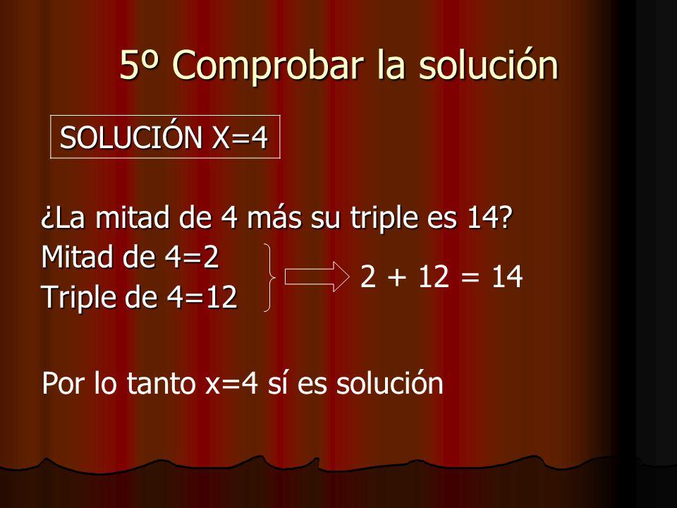5º Comprobar la solución SOLUCIÓN X=4 SOLUCIÓN X=4 ¿La mitad de 4 más su triple es 14.