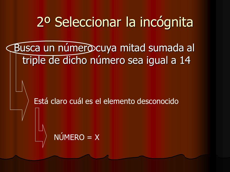 2º Seleccionar la incógnita Busca un número cuya mitad sumada al triple de dicho número sea igual a 14 Está claro cuál es el elemento desconocido NÚMERO = X