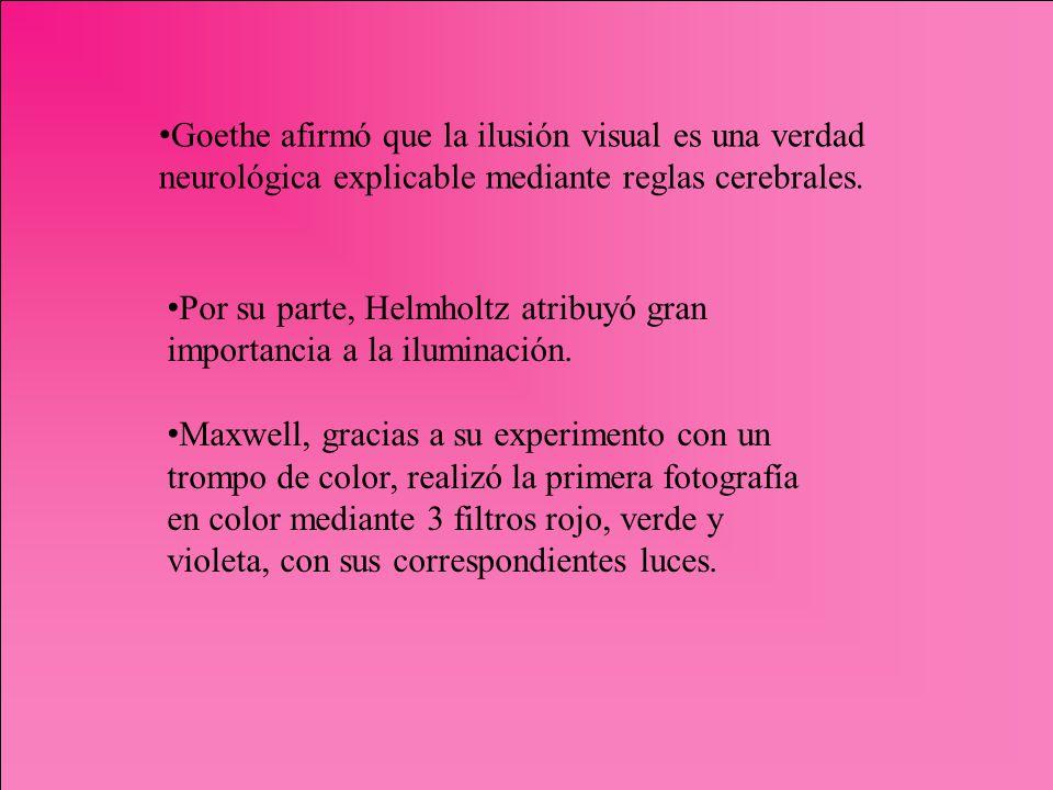 Goethe afirmó que la ilusión visual es una verdad neurológica explicable mediante reglas cerebrales. Por su parte, Helmholtz atribuyó gran importancia