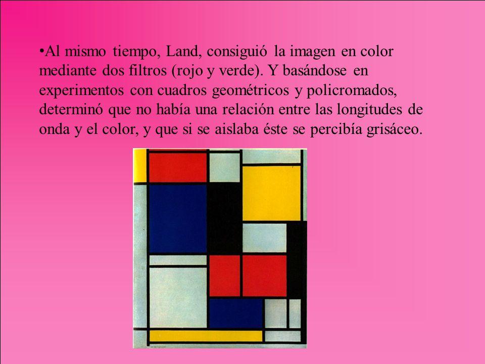 Al mismo tiempo, Land, consiguió la imagen en color mediante dos filtros (rojo y verde). Y basándose en experimentos con cuadros geométricos y policro