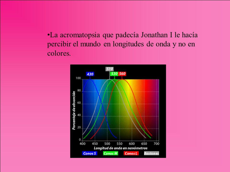 La acromatopsia que padecía Jonathan I le hacía percibir el mundo en longitudes de onda y no en colores.