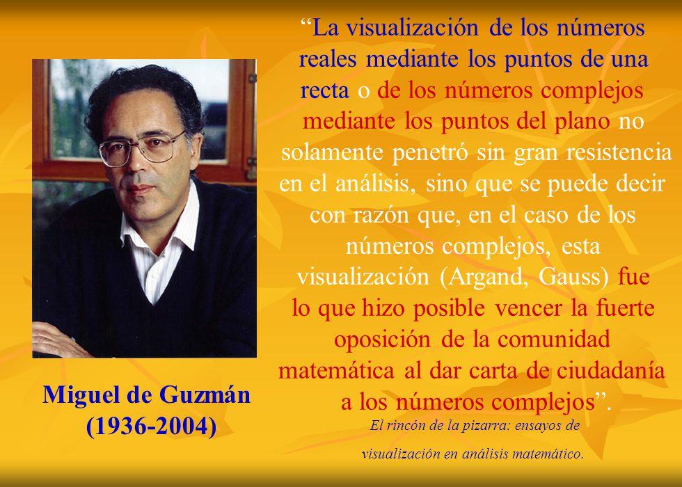 Miguel de Guzmán (1936-2004) La visualización de los números reales mediante los puntos de una recta o de los números complejos mediante los puntos de
