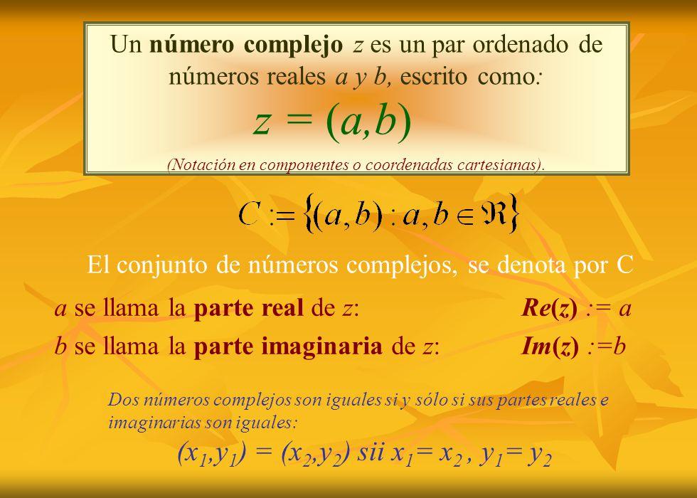 Un número complejo z es un par ordenado de números reales a y b, escrito como: z = (a,b) (Notación en componentes o coordenadas cartesianas).