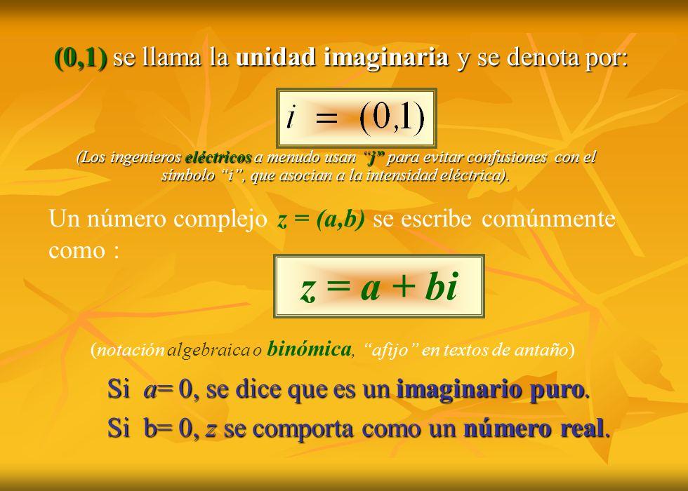 (0,1) se llama la unidad imaginaria y se denota por: Si a= 0, se dice que es un imaginario puro. Si b= 0, z se comporta como un número real. z = a + b