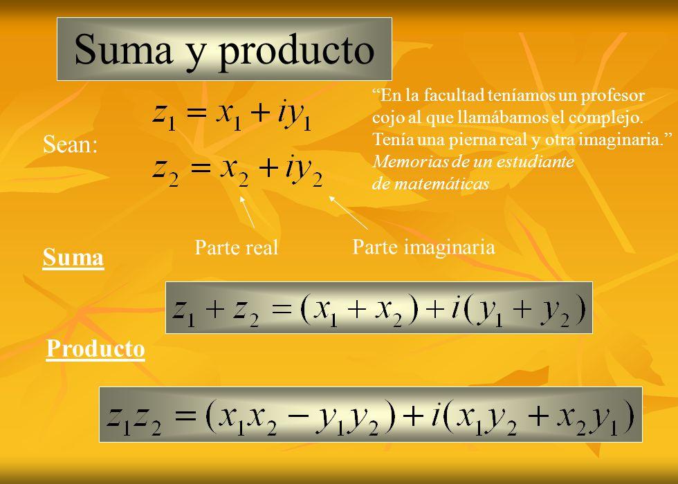 Suma y producto Suma Producto Sean: Parte real Parte imaginaria En la facultad teníamos un profesor cojo al que llamábamos el complejo. Tenía una pier