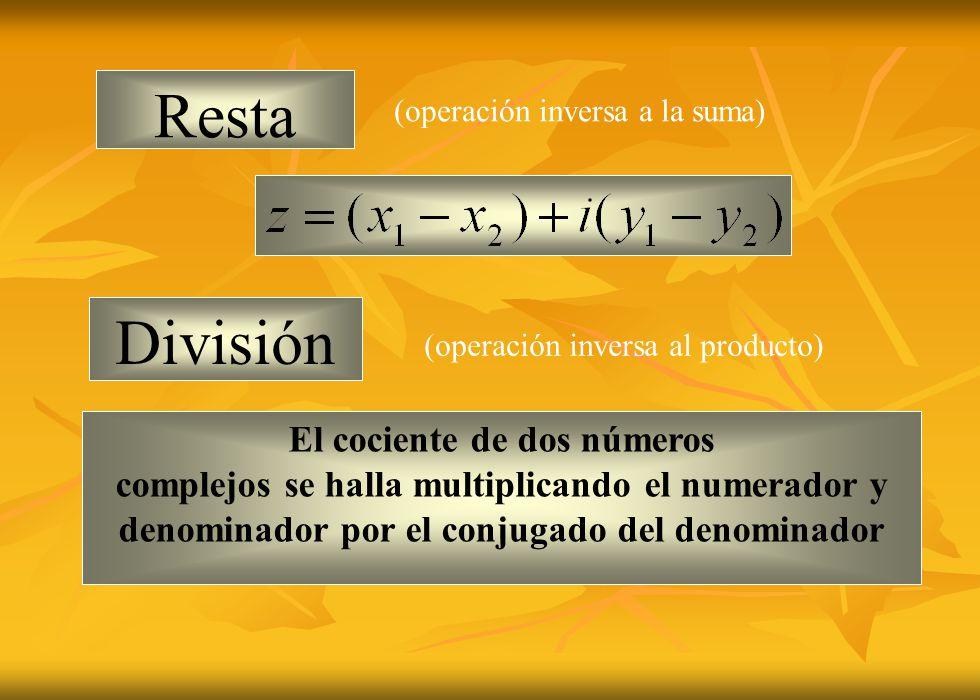 Resta División (operación inversa a la suma) (operación inversa al producto) El cociente de dos números complejos se halla multiplicando el numerador y denominador por el conjugado del denominador