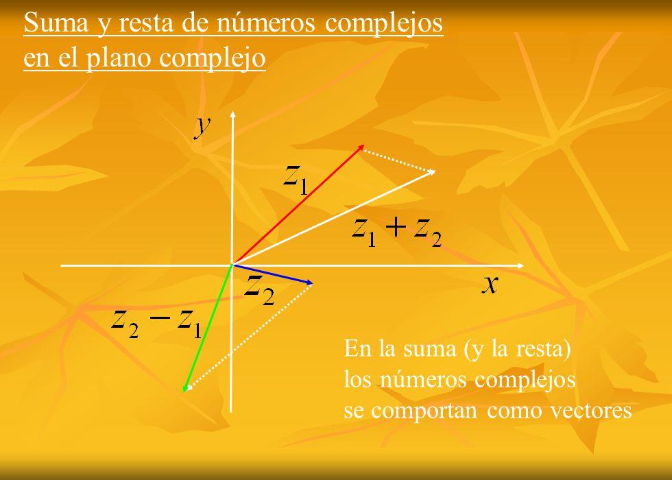 Suma y resta de números complejos en el plano complejo En la suma (y la resta) los números complejos se comportan como vectores
