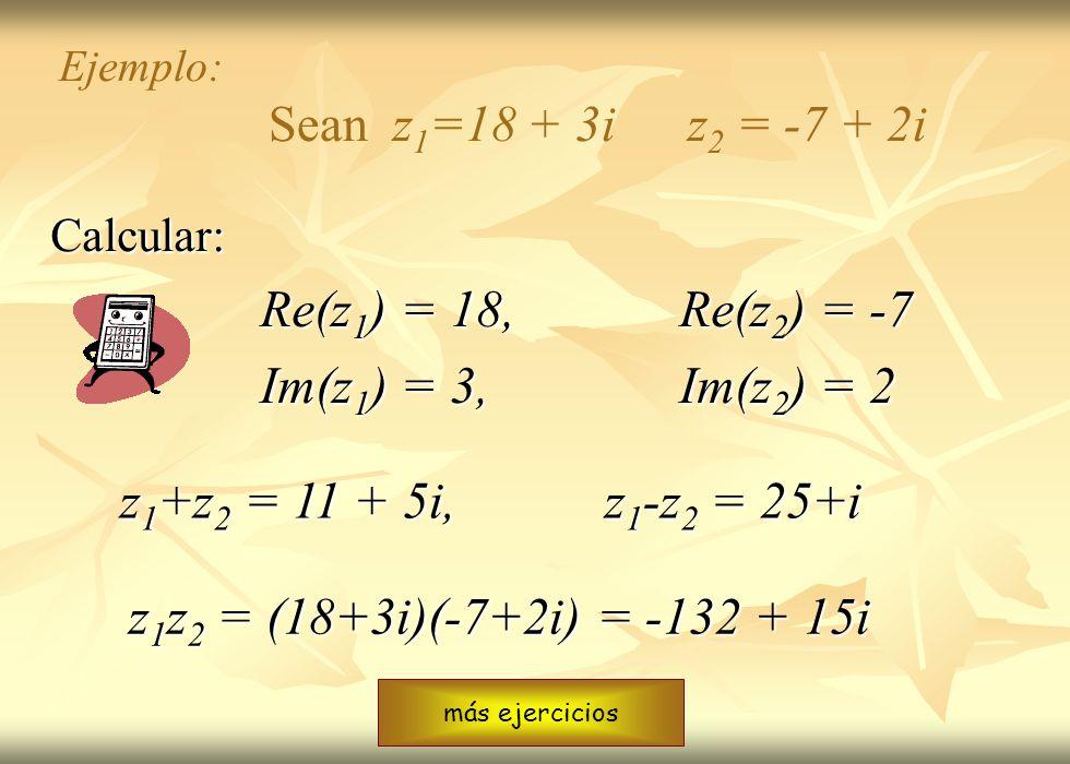 Calcular: Re(z 1 ) = 18, Re(z 2 ) = -7 Im(z 1 ) = 3,Im(z 2 ) = 2 z 1 +z 2 = 11 + 5i,z 1 -z 2 = 25+i z 1 z 2 = (18+3i)(-7+2i) = -132 + 15i Ejemplo: Sea