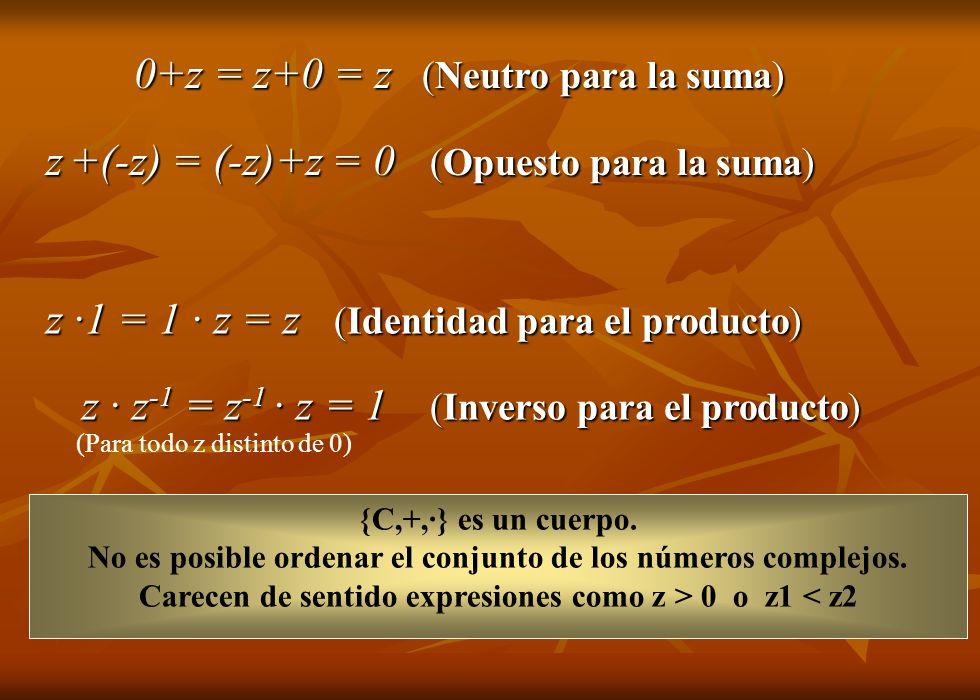 0+z = z+0 = z (Neutro para la suma) z +(-z) = (-z)+z = 0 (Opuesto para la suma) z ·1 = 1 · z = z (Identidad para el producto) z · z -1 = z -1 · z = 1