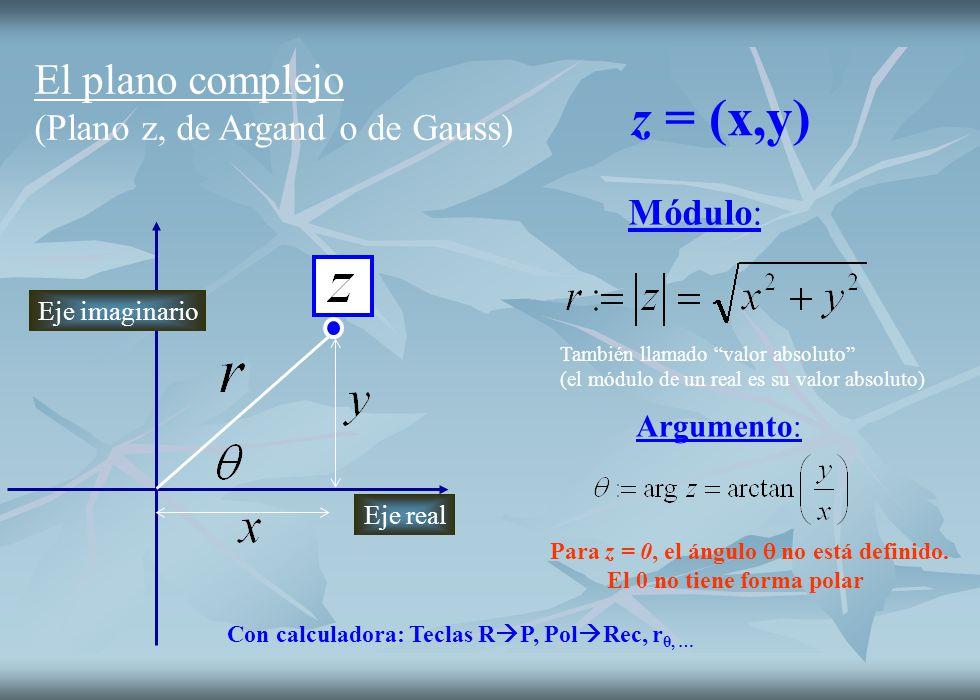 El plano complejo (Plano z, de Argand o de Gauss) Módulo: También llamado valor absoluto (el módulo de un real es su valor absoluto) Argumento: Eje re