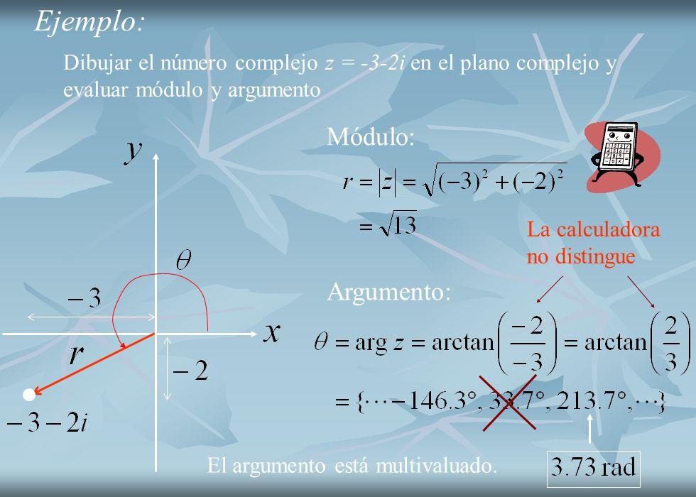 Ejemplo: Dibujar el número complejo z = -3-2i en el plano complejo y evaluar módulo y argumento Módulo: Argumento: La calculadora no distingue El argu