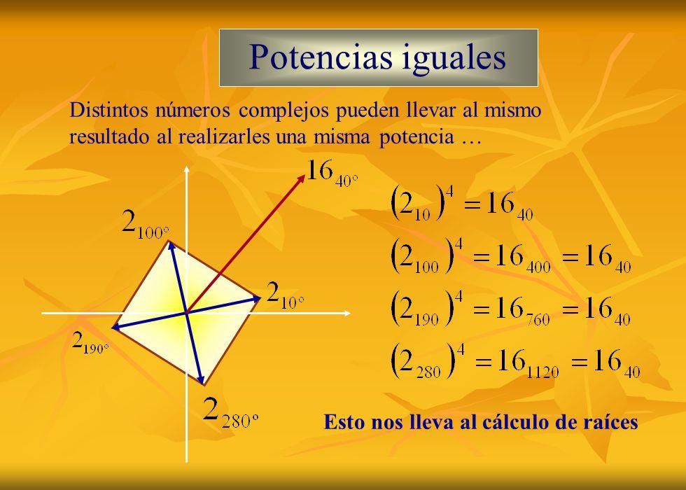 Potencias iguales Distintos números complejos pueden llevar al mismo resultado al realizarles una misma potencia … Esto nos lleva al cálculo de raíces
