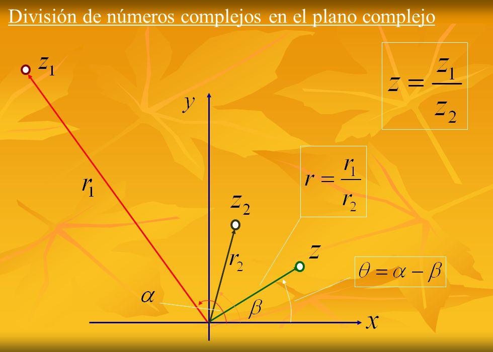División de números complejos en el plano complejo
