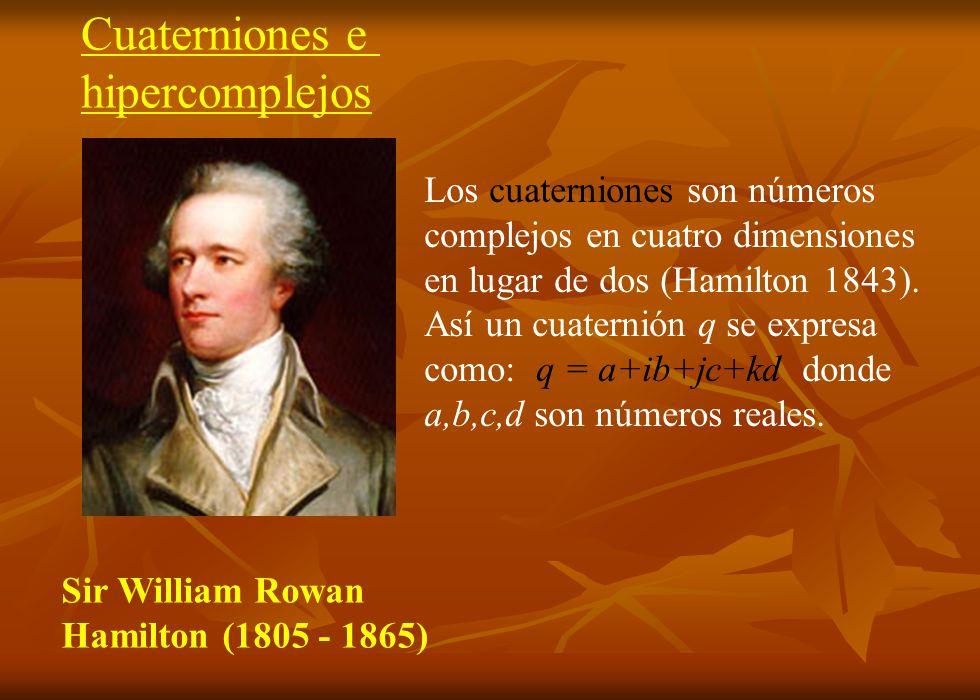 Sir William Rowan Hamilton (1805 - 1865) Los cuaterniones son números complejos en cuatro dimensiones en lugar de dos (Hamilton 1843). Así un cuaterni