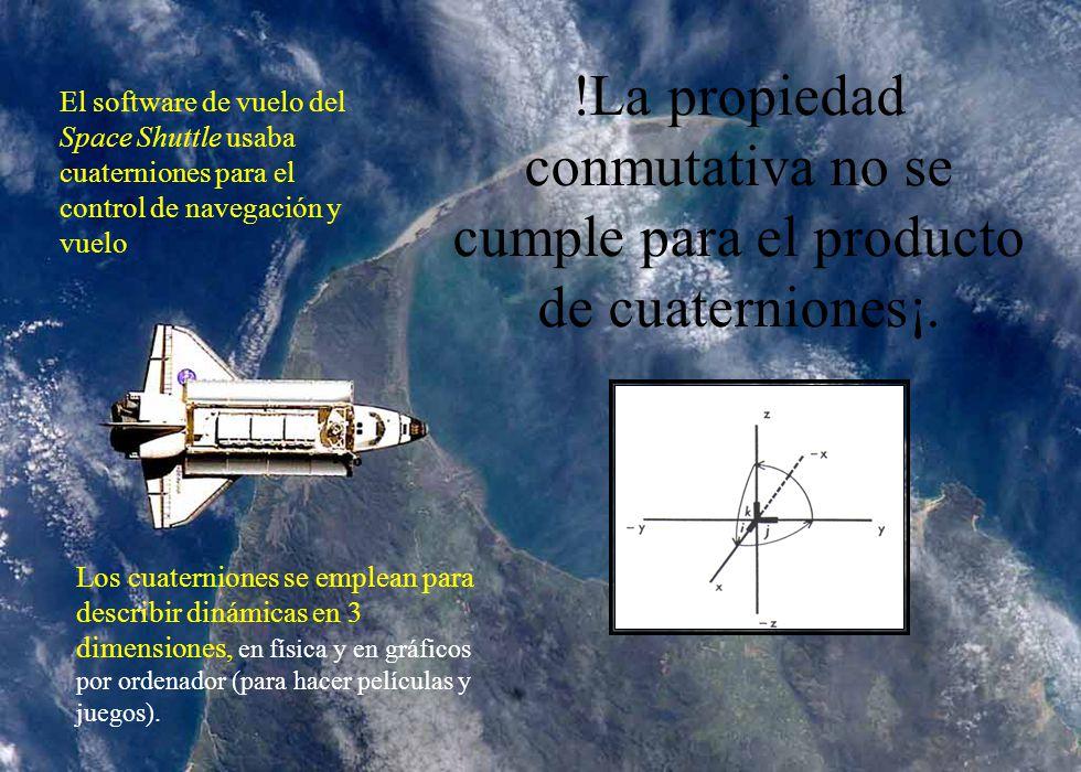 !La propiedad conmutativa no se cumple para el producto de cuaterniones¡. Los cuaterniones se emplean para describir dinámicas en 3 dimensiones, en fí