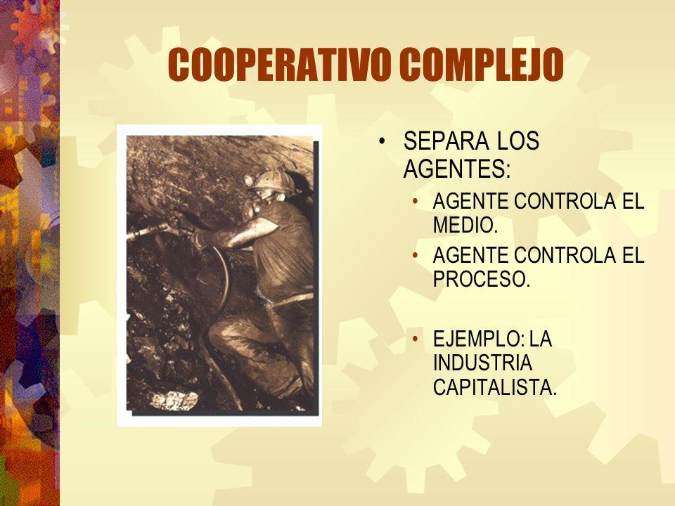 COOPERATIVO COMPLEJO SEPARA LOS AGENTES: AGENTE CONTROLA EL MEDIO. AGENTE CONTROLA EL PROCESO. EJEMPLO: LA INDUSTRIA CAPITALISTA.