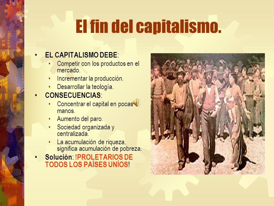 El fin del capitalismo. EL CAPITALISMO DEBE : Competir con los productos en el mercado. Incrementar la producción. Desarrollar la teología. CONSECUENC