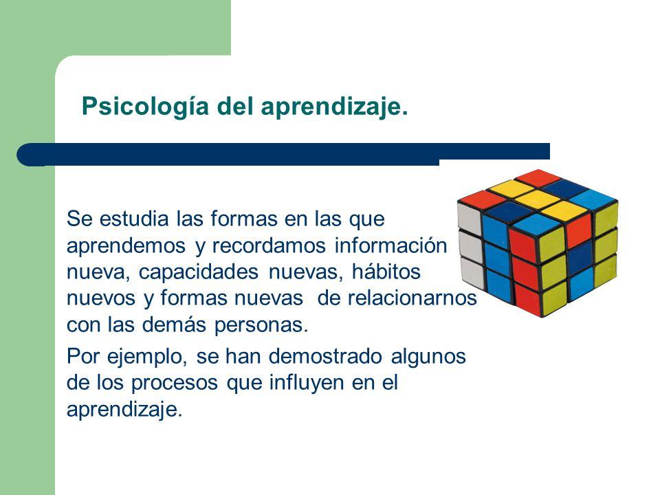 Psicología del aprendizaje. Se estudia las formas en las que aprendemos y recordamos información nueva, capacidades nuevas, hábitos nuevos y formas nu