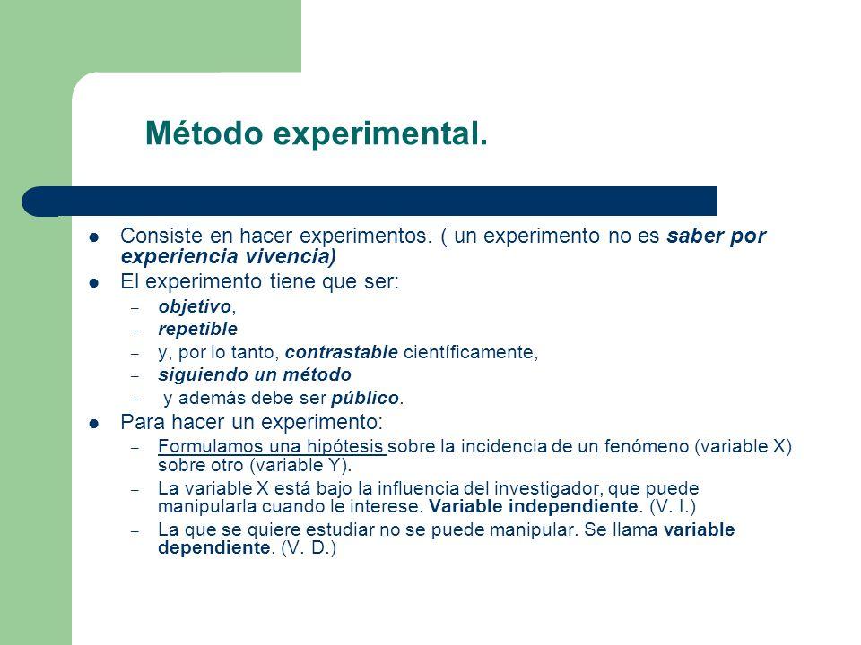 Método experimental. Consiste en hacer experimentos. ( un experimento no es saber por experiencia vivencia) El experimento tiene que ser: – objetivo,