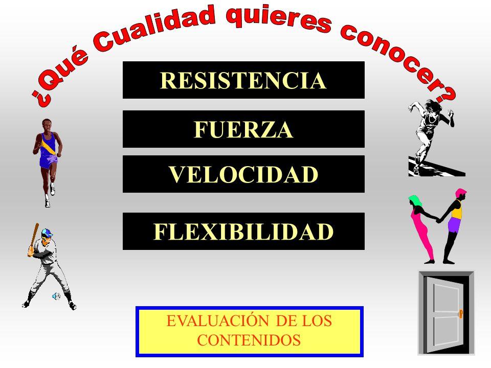 RESISTENCIA FUERZA VELOCIDAD FLEXIBILIDAD EVALUACIÓN DE LOS CONTENIDOS