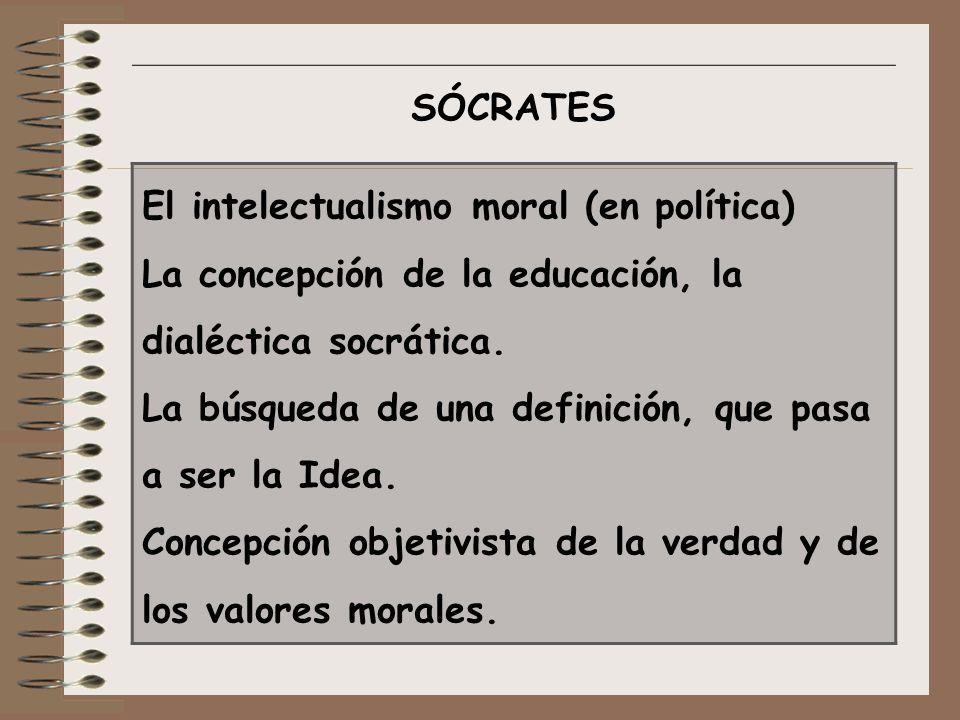 SÓCRATES El intelectualismo moral (en política) La concepción de la educación, la dialéctica socrática. La búsqueda de una definición, que pasa a ser