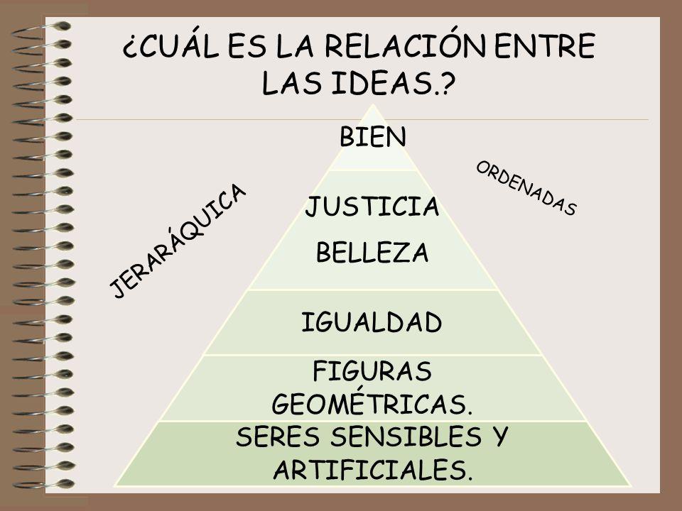 ¿CUÁL ES LA RELACIÓN ENTRE LAS IDEAS.? BIEN JUSTICIA BELLEZA IGUALDAD FIGURAS GEOMÉTRICAS. SERES SENSIBLES Y ARTIFICIALES. JERARÁQUICA ORDENADAS