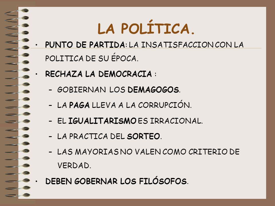 LA POLÍTICA. PUNTO DE PARTIDA: LA INSATISFACCION CON LA POLITICA DE SU ÉPOCA. RECHAZA LA DEMOCRACIA : –GOBIERNAN LOS DEMAGOGOS. –LA PAGA LLEVA A LA CO