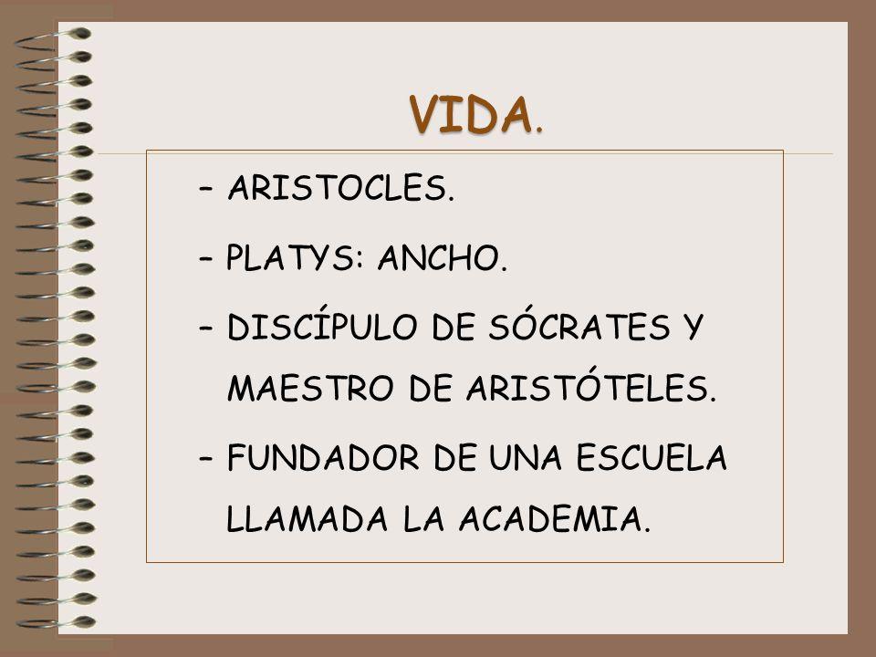 –ARISTOCLES. –PLATYS: ANCHO. –DISCÍPULO DE SÓCRATES Y MAESTRO DE ARISTÓTELES. –FUNDADOR DE UNA ESCUELA LLAMADA LA ACADEMIA.