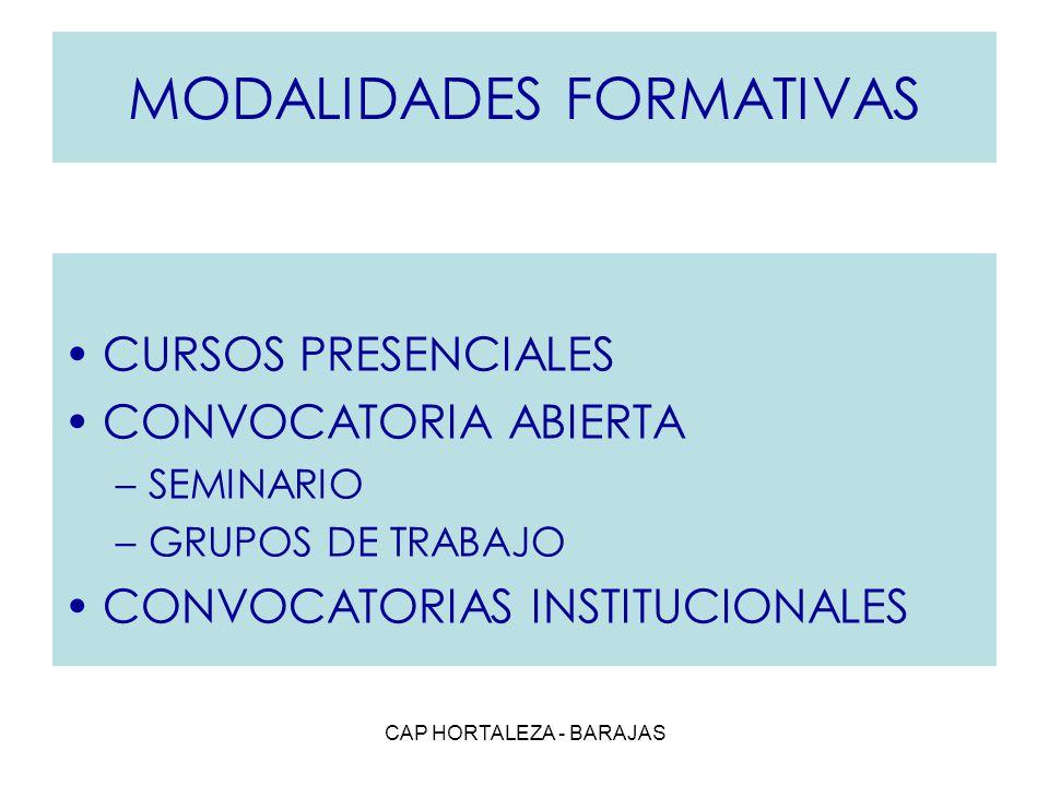 CAP HORTALEZA - BARAJAS MODALIDADES FORMATIVAS CURSOS PRESENCIALES CONVOCATORIA ABIERTA –SEMINARIO –GRUPOS DE TRABAJO CONVOCATORIAS INSTITUCIONALES