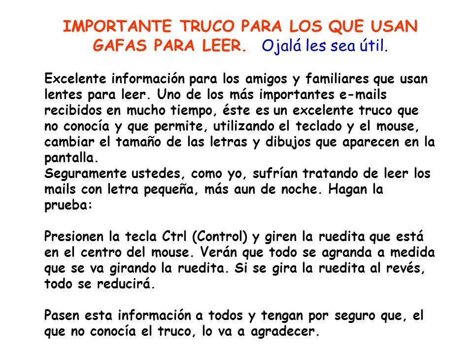 IMPORTANTE TRUCO PARA LOS QUE USAN GAFAS PARA LEER.