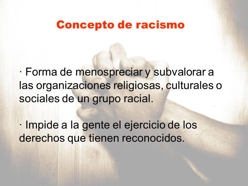 Forma de menospreciar y subvalorar a las organizaciones religiosas, culturales o sociales de un grupo racial Impide a la gente el ejercicio de los derechos que tienen recococidos.