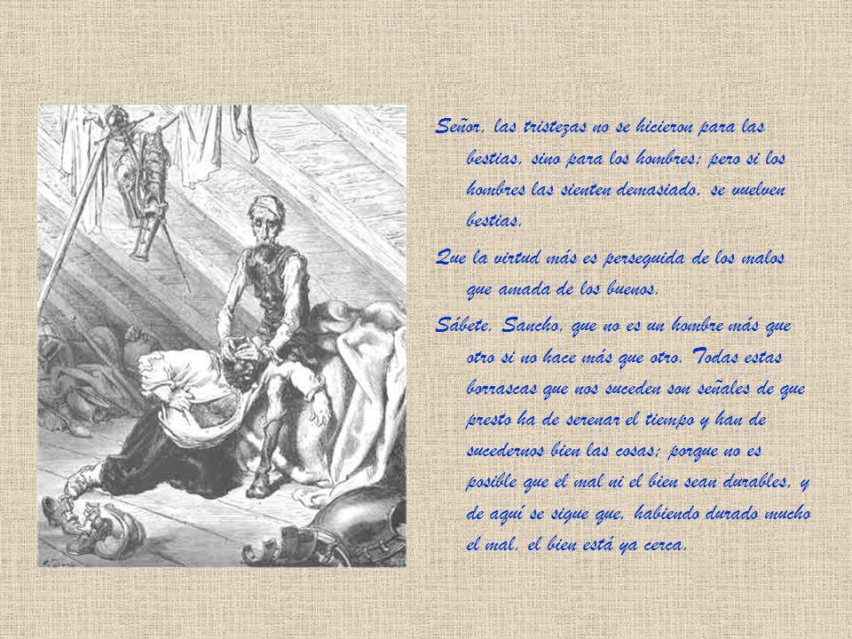 - ¡Majadero! -dijo a esta sazón don Quijote-, a los caballeros andantes no les toca ni atañe averiguar si los afligidos, encadenados y opresos que enc