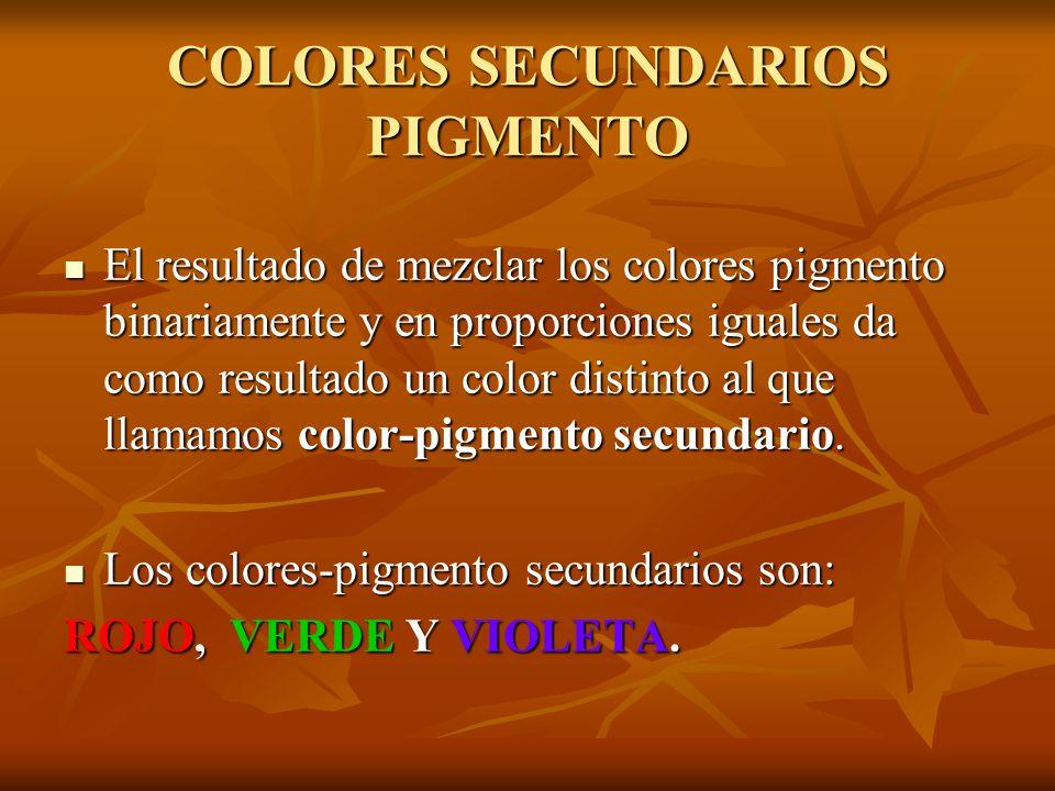 COLORES SECUNDARIOS PIGMENTO El El resultado de mezclar los colores pigmento binariamente y en proporciones iguales da como resultado un color distinto al que llamamos color-pigmento secundario.