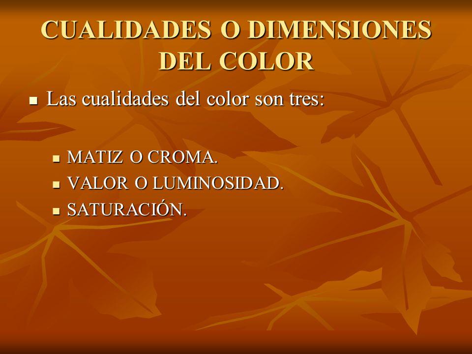 CUALIDADES O DIMENSIONES DEL COLOR Las cualidades del color son tres: Las cualidades del color son tres: MATIZ O CROMA.