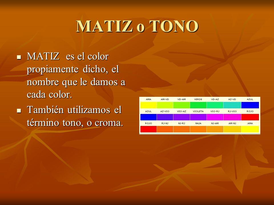 MATIZ o TONO MATIZ es el color propiamente dicho, el nombre que le damos a cada color.