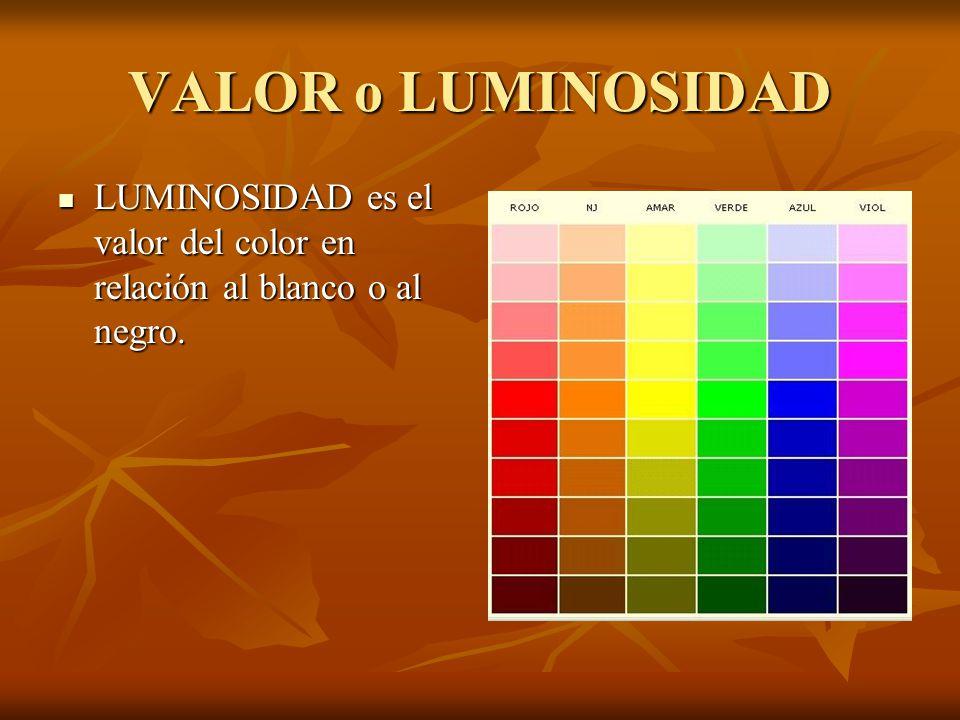 VALOR o LUMINOSIDAD LUMINOSIDAD es el valor del color en relación al blanco o al negro.