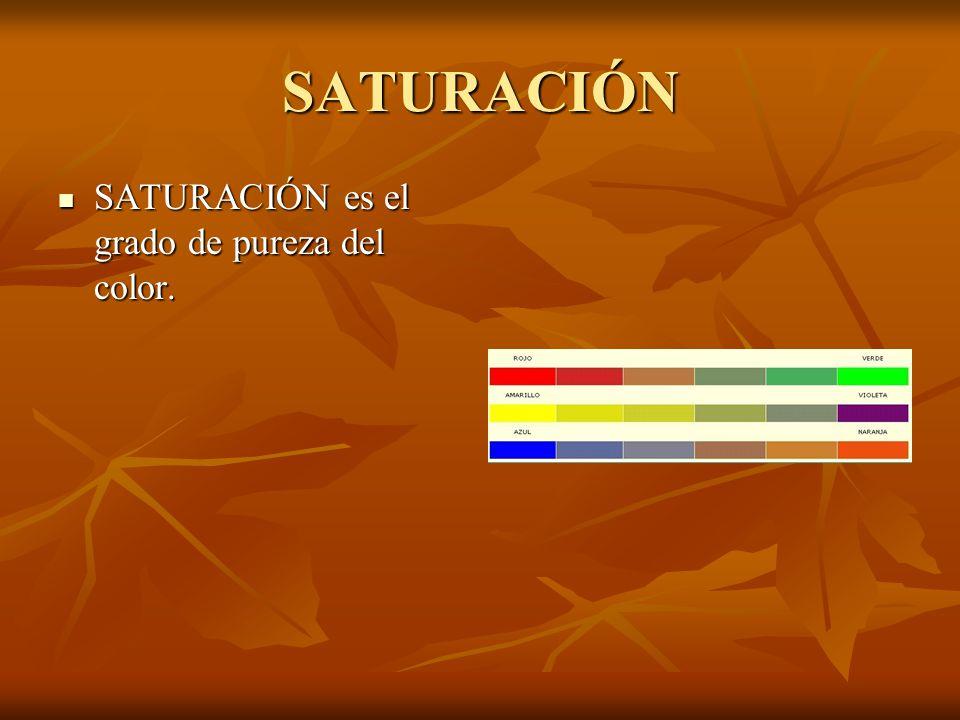 SATURACIÓN SATURACIÓN es el grado de pureza del color. SATURACIÓN es el grado de pureza del color.