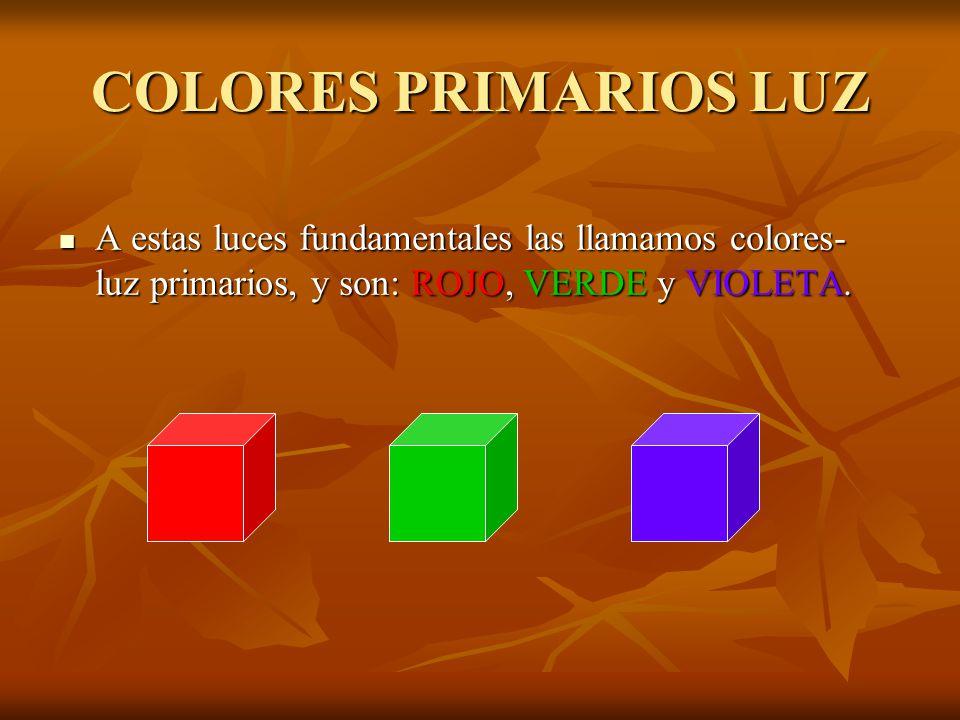 COLORES PRIMARIOS LUZ A estas luces fundamentales las llamamos colores- luz primarios, y son: ROJO, VERDE y VIOLETA.