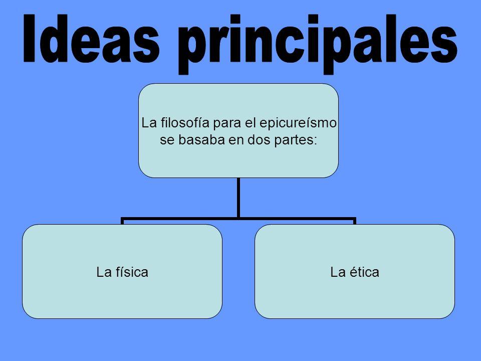 La filosofía para el epicureísmo se basaba en dos partes: La físicaLa ética