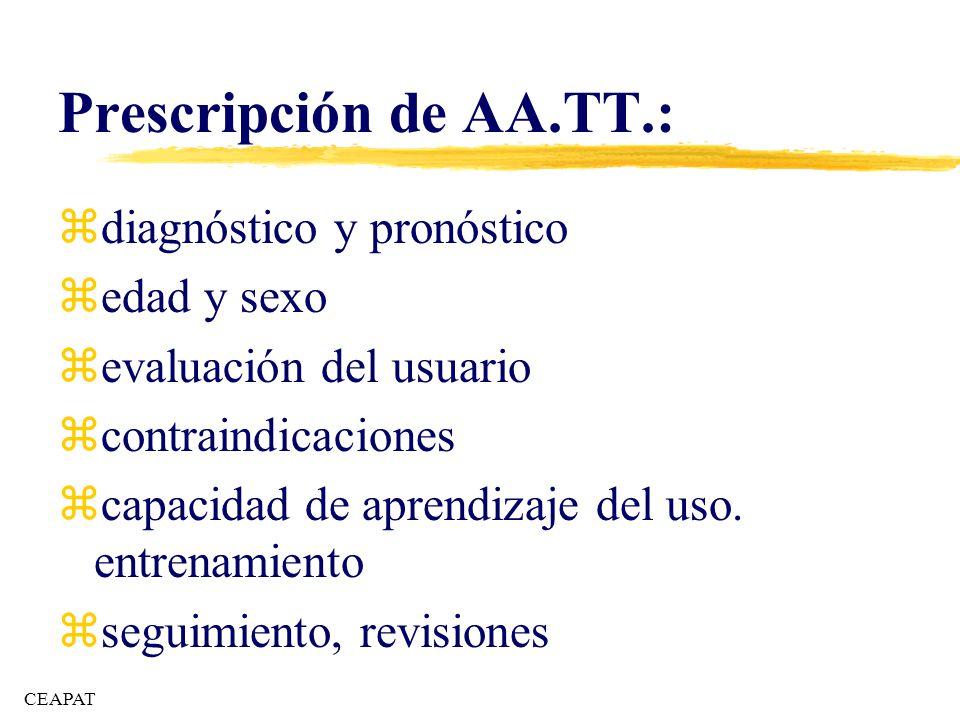 Prescripción de AA.TT.: zdiagnóstico y pronóstico zedad y sexo zevaluación del usuario zcontraindicaciones zcapacidad de aprendizaje del uso. entrenam