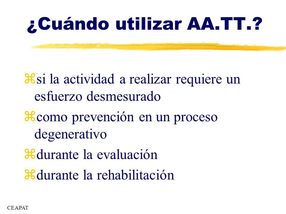 ¿Cuándo utilizar AA.TT.? zsi la actividad a realizar requiere un esfuerzo desmesurado zcomo prevención en un proceso degenerativo zdurante la evaluaci