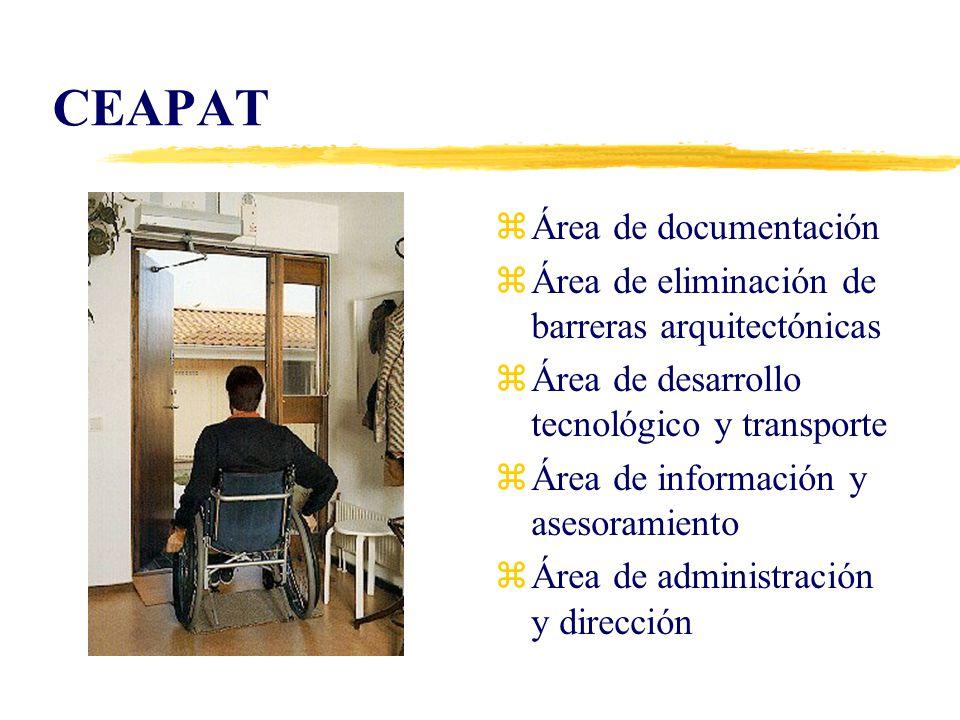 Área de Información y Asesoramiento zInformación yBase de Datos yCatálogo de Ayudas Técnicas zAsesoramiento zEvaluación: yToma de contacto yCuestionario yEvaluación interdisciplinar zAdaptación de puestos de trabajo
