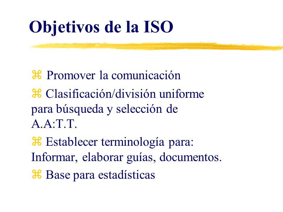 Objetivos de la ISO Promover la comunicación z Clasificación/división uniforme para búsqueda y selección de A.A:T.T. z Establecer terminología para: I