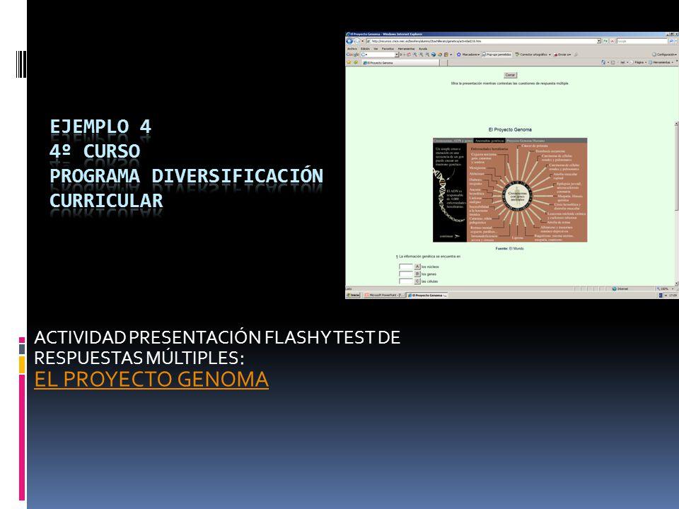ACTIVIDAD PRESENTACIÓN FLASH Y TEST DE RESPUESTAS MÚLTIPLES : EL PROYECTO GENOMA