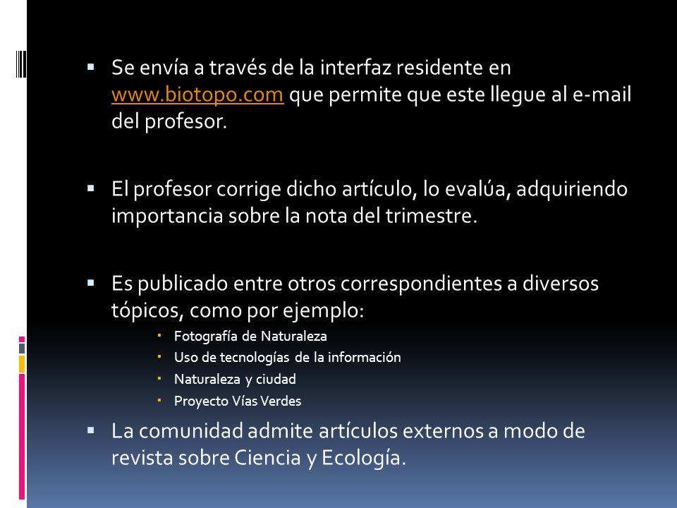 Se envía a través de la interfaz residente en www.biotopo.com que permite que este llegue al e-mail del profesor.