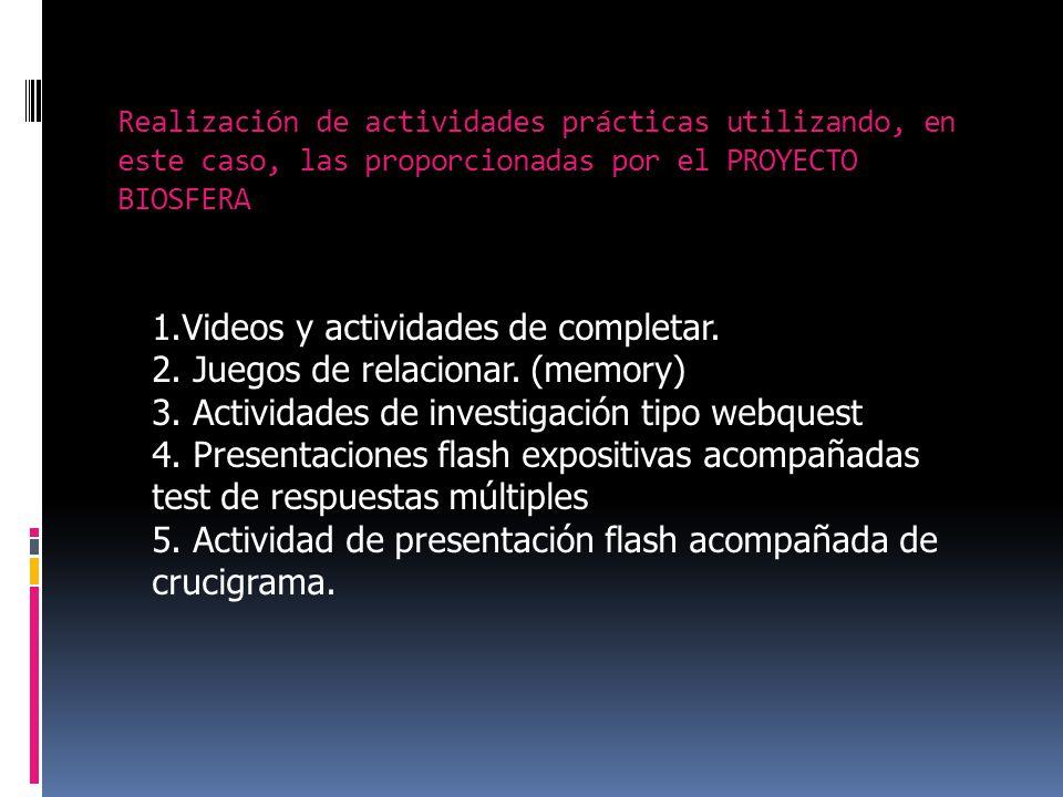 Realización de actividades prácticas utilizando, en este caso, las proporcionadas por el PROYECTO BIOSFERA 1.Videos y actividades de completar.