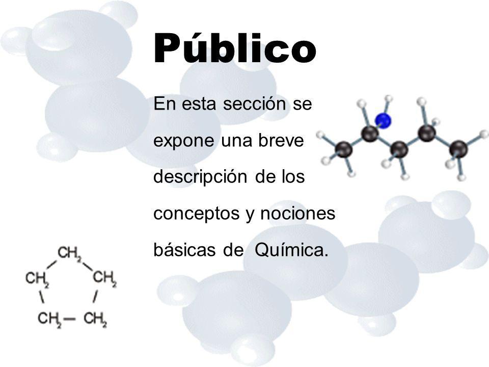 Público En esta sección se expone una breve descripción de los conceptos y nociones básicas de Química.