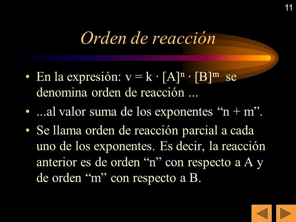 10 Ecuación de velocidad (cont.) A la constante k se le denomina constante de velocidad (No confundir con K C o K P ) Ejemplos: H 2 (g) + I 2 (g) 2 HI
