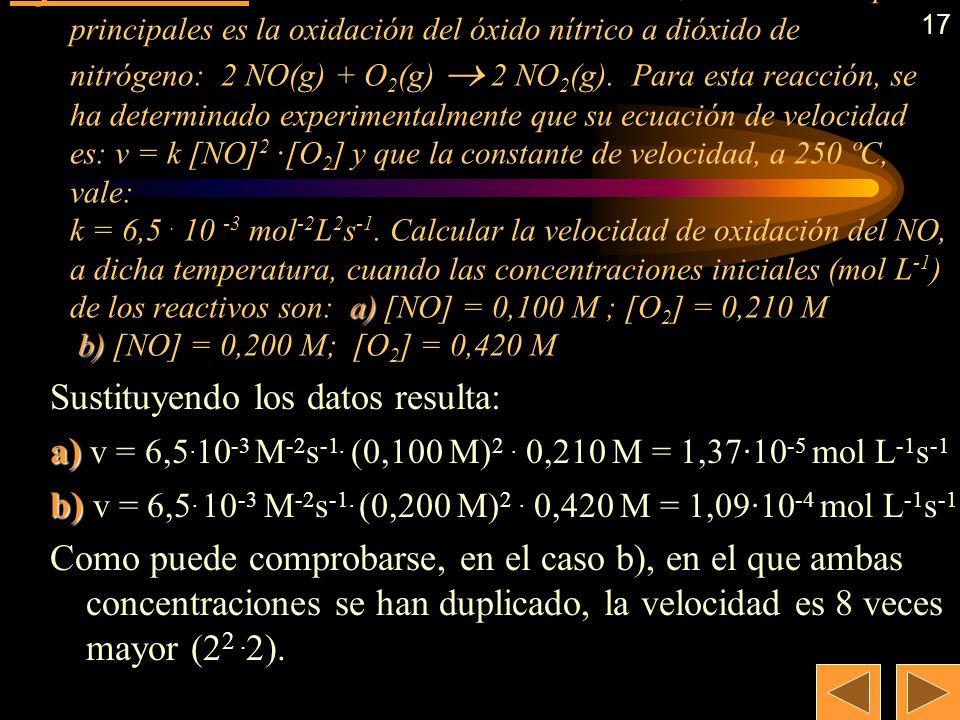 16 También puede calcularse usando logaritmos: log v = log k + n · log [CH 3 -Cl + m · log [H 2 O Aplicamos dicha expresión a cada experimento: (1) lo